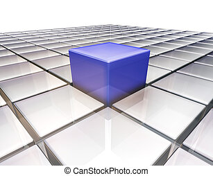 Stand out from the crowd - 3D render of one blue glass box ...