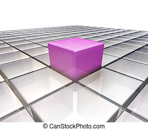 Stand out from the crowd - 3D render of one pink glass box...