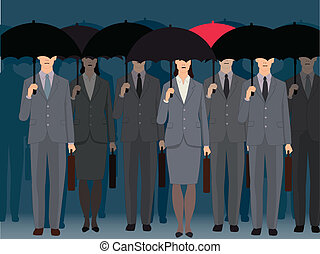 A man with a red umbrella standing an a crowd of faceless business people under black umbrellas, vector illustration