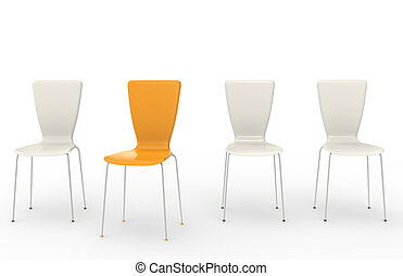 Chairs in a row, one Orange