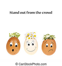 Stand out from the crowd concept. Three eggheads with ...