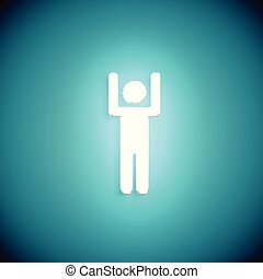 Stand out from the crowd glowing man with raised hand, vector illustration
