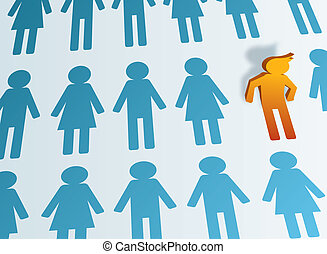 Stand Out From the Crowd - Icon man leaving the crowd and...