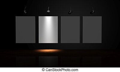 Stand out from the crowd. Illuminated canvas on the wall of the gallery