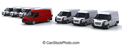 Stand out from the crowd - One red van standing out from a...