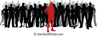 Silhouette of a huge crowd of people with one person standing out in red