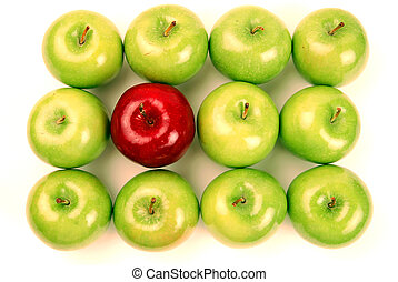 Stand Out From the Crowd - One Red Apple stands out among...