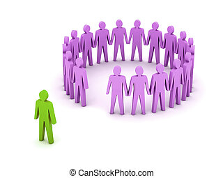 Stand out from the crowd. Unusual person. Concept 3D ...