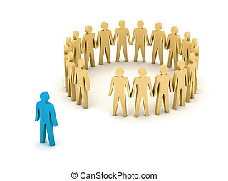 Stand out from the crowd. Unusual person. Concept 3D...