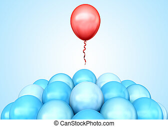 Stand out - Red balloon flying away