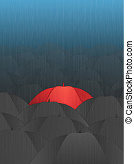 Stand Out - Red Umbrella in a Crowd