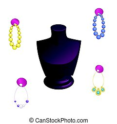 Stand Showcase in the form of a female bust with beads and earrings