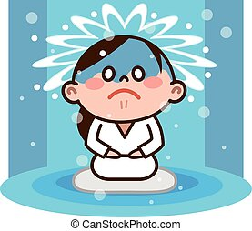 stand under a waterfall - Vector illustration.Original...