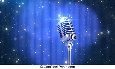Stand Up Background with a Blue Curtain, Rotating Spotlights...