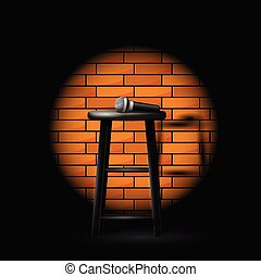 Stand up comedy show - microphone on stool in ray of spotlight and brick wall
