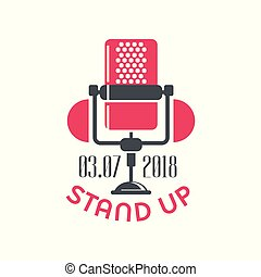 Stand up comedy show sign with retro microphone and date vector Illustration on a white background