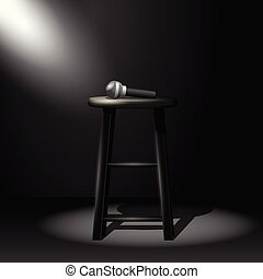 Stand up comedy stage - microphone on stool in ray of spotlight