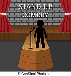 Stand-Up Comedy Vector Interior. Man or Woman Performs on Stage. Theater Scene with Red Curtains and Grey Brick Wall. Vector illustration for Your Design.