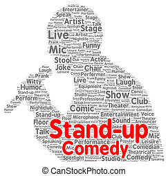 Stand-up comedy word cloud shape concept