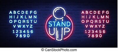 Stand Up Logo in Neon Style. Comedy show is neon sign, symbol, an invitation to a comedy performance, bright banner, neon poster, nightlit advertising. Vector illustration. Editing text neon sign