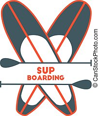 Stand Up Paddle Surfing logo. Two boards.