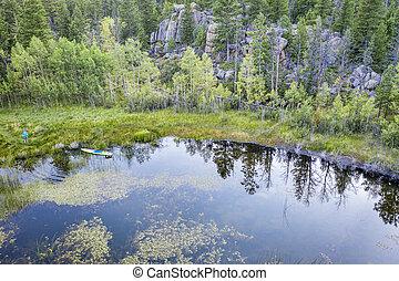 stand up paddleboard on mountain lake