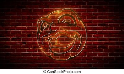 Stand up show neon icon. Laughing smiley on brick wall background.