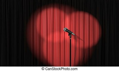 Stand Up Stage, Red Curtain with Spotlights and a Microphone, Beautiful Seamless Looped 3d Animation. 4K