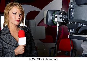 stand up transmission with serious press woman in front of...
