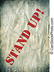 Stand up - vintage background - Red Stand up letters on a...