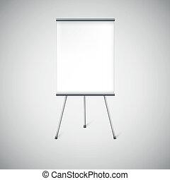 stand., vuoto, pubblicità, flipchart, o