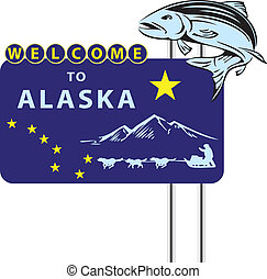 Stand Welcome to Alaska with the symbols of the State. Vector illustration.