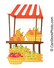Stand with fruit vector cartoon illustration.