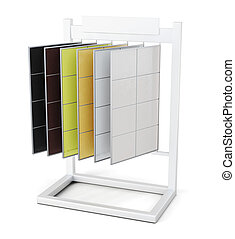 Stand with samples of products on a white background. 3d rendering