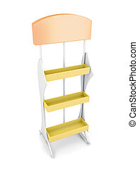 Stand with shelves isolated on white background. 3d rendering
