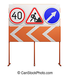 Stand with traffic signs on white background. 3d illustration