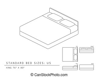 Standard bed sizes of us (United States of America) King...