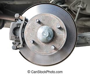 Standard car disc brake isolated on white
