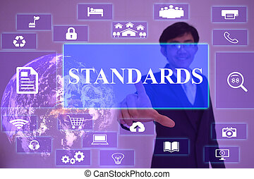 standard concept  presented by  businessman touching on  virtual  screen ,image element furnished by NASA