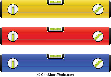 Standard construction level isolated on white vector illustration in 3 color variants.