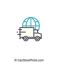 Standard international delivery vector thin line stroke icon. Standard international delivery outline illustration, linear sign, symbol concept.