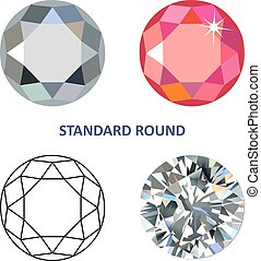 Standard round gem cut - Low poly colored & black outline...