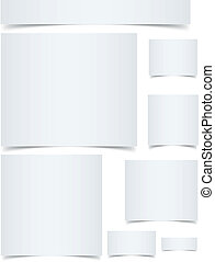 Standard sized blank web banners with curled edges effect ...