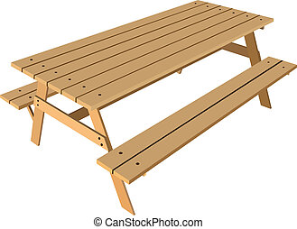 Standard table with benches on either side of the table. ...