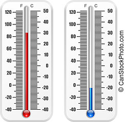 Standard thermometer vector template isolated on white background.