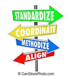 Standardize, Coordinate, Methodize and Align words on arrow signs pointing you toward consistent business processes, systems and procedures