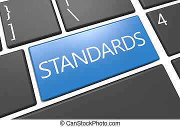 Standards - keyboard 3d render illustration with word on...