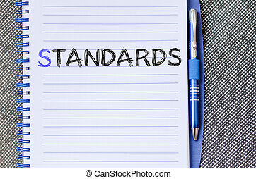Standards write on notebook - Standards text concept write...