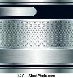 standarta, grafické pozadí, kovový, abstraktní, stříbrný