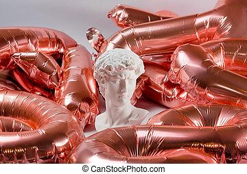 standbeeld, folie, kopie, gips, roze, david, pleister,...